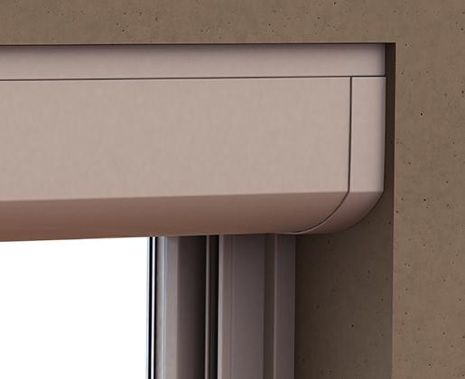 Coffre rénovation extérieur en PVC GVR.r avec cornière d'habillage haute