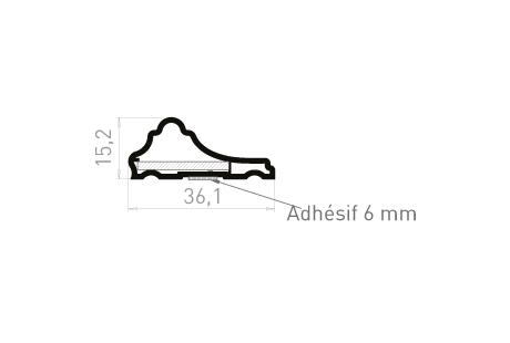 AB004A Habillage mouluré à coller + adhésif 6mm