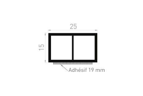 ME085A Cale de compensation 25x15 + adhésif 19 mm