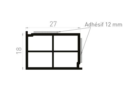 ME087B Cale de compensation 18x27 + 2 adhésifs 12mm