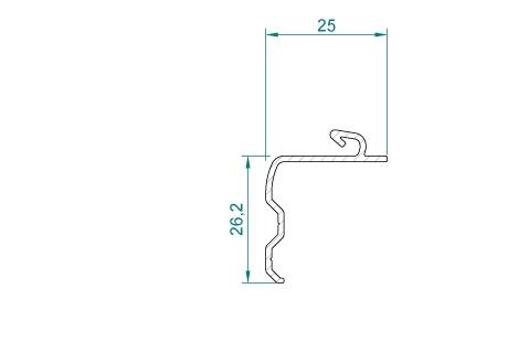 RF016_BRUT/LQ Interface 25mm pour coffre sous-face VR054