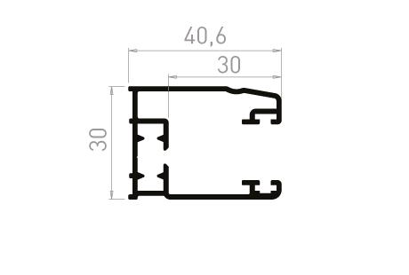 VR003_AL Coulisse simple 30 mm à 90°