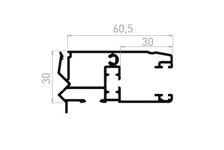 VR004_AL Coulisse tapée rénovation 30 mm avec becquet