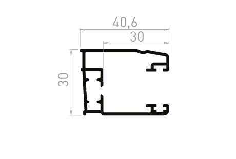 VR005_AL Coulisse simple 30 mm à 93°