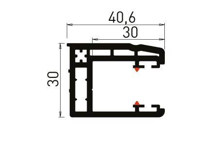 VR005 Coulisse simple 30 mm à 93°