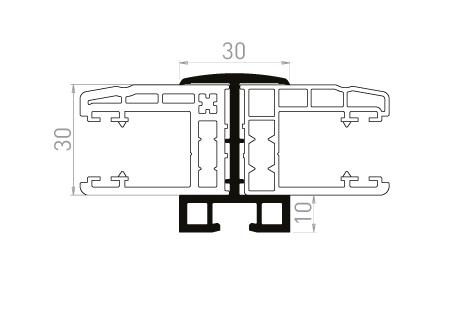 VR012 Profil de liaison pour coulisse double de 40 mm