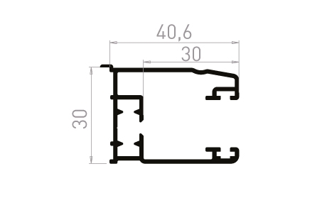 VR013_AL Coulisse simple 30 mm à 90° avec becquet