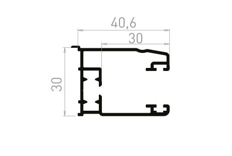 VR013_AL Coulisse simple 30mm à 90° avec becquet
