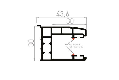 VR013JC Coulisse simple 30 mm à 90° avec becquet