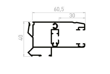 VR018_AL Coulisse tapée rénovation 40mm