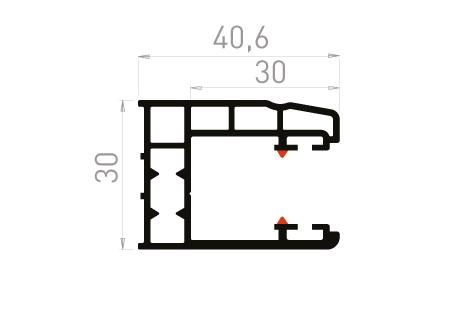 VR033 Coulisse simple 30mm à 90°
